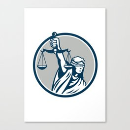 Lady Blindfolded Holding Scales Justice Front Retro Canvas Print