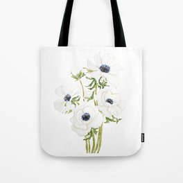 white anemone flower  watercolor painting Tote Bag