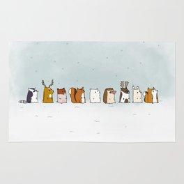 Winter forest animals Rug