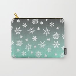 Snow Flurries-Gray/Aqua Ombre Carry-All Pouch