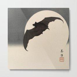 Moonlight Flying Bat Metal Print