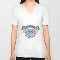skateboard V-neck T-shirts featuring Skateboard print by Komiksar