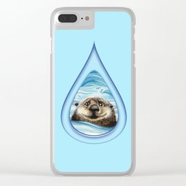 Sea Otter Drip Pattern Clear iPhone Case