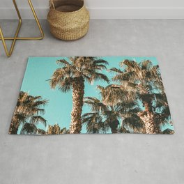 {1 of 2} Classy Palm Leaf Sky // Summer Teal Palmtree Art Print Rug