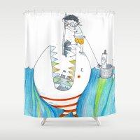 shark Shower Curtains featuring Shark by officinamezzaluna