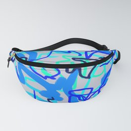 Blue & Gray Wiggle Abstract Fanny Pack