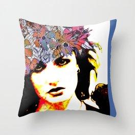 Her Blue Hat Throw Pillow