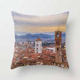 Aerial View Historic Center of Lucca, Italy Throw Pillow