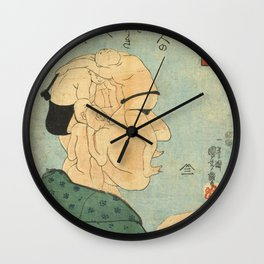 Japanese Portrait from Human Bodies Silhouettes Wall Clock