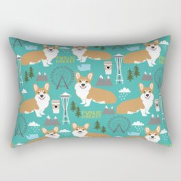 Corgi seattle washington welsh corgi pattern print dog lover gifts space needle ferris wheel coffee Rectangular Pillow