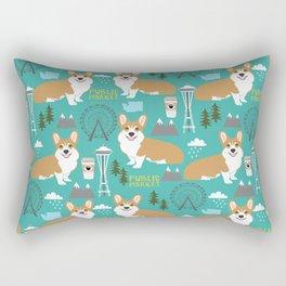 Corgi seattle washington welsh corgi pattern print dog lover gifts space needle ferris wheel coffee Rectangular Pillow