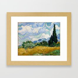 Wheat Field with Cypresses Framed Art Print