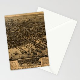 Map Of Pensacola 1885 Stationery Cards