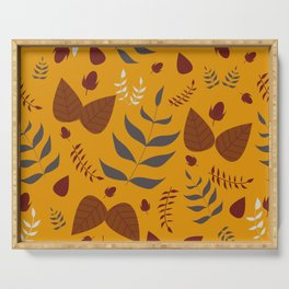 Autumn leaves and acorns - ochre and brown Serving Tray