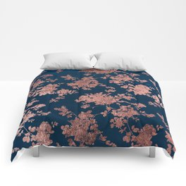 Navy blue faux rose gold watercolor floral Comforters