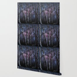"""into the woods"" a night forest landscape in oil Wallpaper"