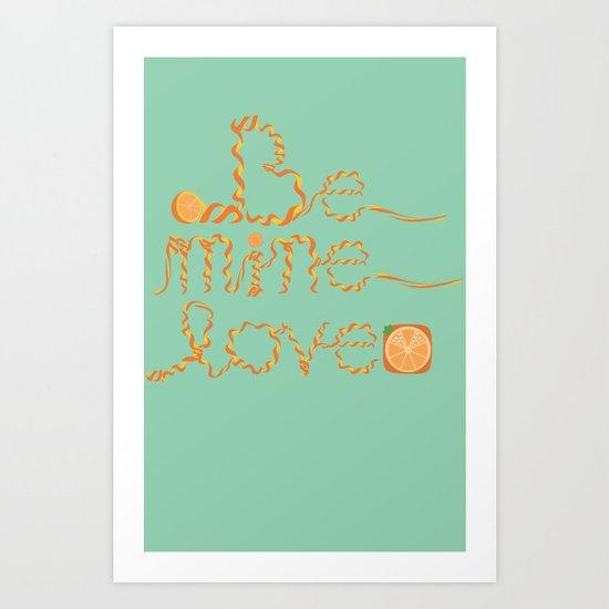 Valentine's Day Orange Peel Heart Art Print