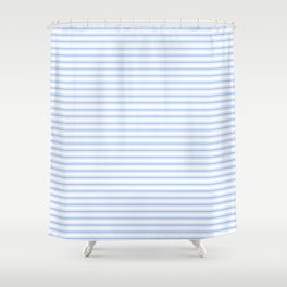 mattress ticking narrow horizontal stripe in pale blue and white shower curtain