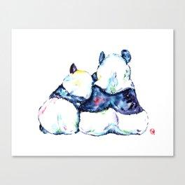 Pandas Bears Colorful Watercolor Painting Canvas Print