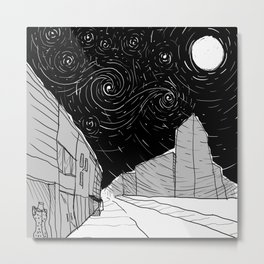 Night Sky in Middling City Metal Print