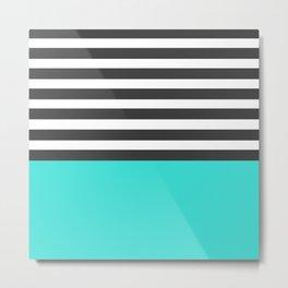 Black and White Stripes with Aqua Metal Print