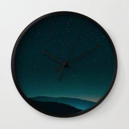 Mid Century Modern Round Circle Photo Graphic Design Minimal Night Sky With Mountain Silhouette Wall Clock
