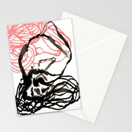 Abstract black and white coral swirl painting home office decor gifts for minimalists Stationery Cards