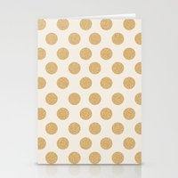 gold dots Stationery Cards featuring Glittering Gold Dots by Allyson Johnson