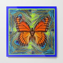 MONARCH BUTTERFLY  BLUE & GREEN ART Metal Print