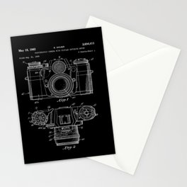 Vintage Camera Patent Black Blueprint Stationery Cards