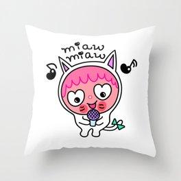 Pinky & choco : MIAW MIAW Throw Pillow