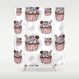 Pattern With Cupcake With Cookie Illustration Shower Curtain
