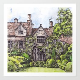Old English Manor House ink & watercolor illustration Art Print