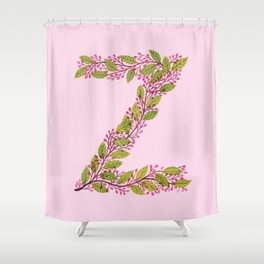 Leafy Letter Z Shower Curtain