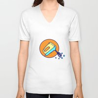 cooking V-neck T-shirts featuring COOKING MIXER by Sofia Youshi