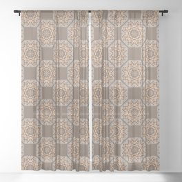 Beach Tiled Pattern Sheer Curtain