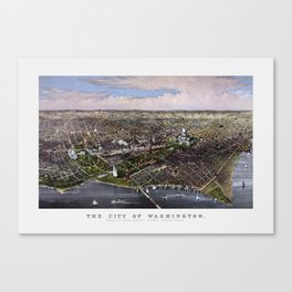 The City Of Washington - Birds-Eye View Canvas Print