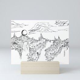 Moon on Mountain Sketch Mini Art Print