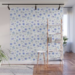 Elegant blush blue yellow watercolor floral pattern Wall Mural