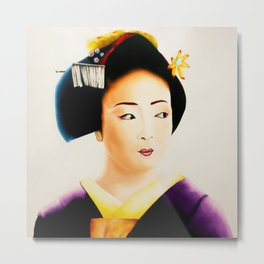 Japanese Geisha oil painting Metal Print