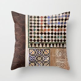 Details in The Alhambra Palace. Gold courtyard Throw Pillow