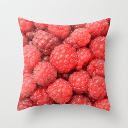 Delicious raspberries food pattern Throw Pillow