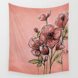Poppies on rose Wall Tapestry