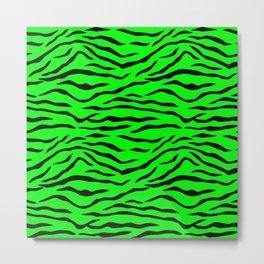 Bright Neon Green and Black Tiger Stripes Metal Print
