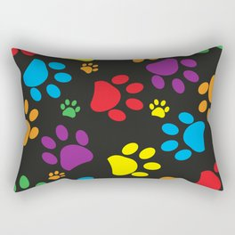 Colorful paw print black background Rectangular Pillow