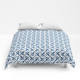 Classic Blue Brushstrokes on White Pattern Comforters