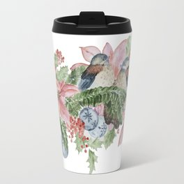 Watercolor Birds and Flowers Travel Mug