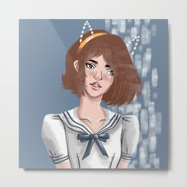 Catty Schoolgirl Metal Print