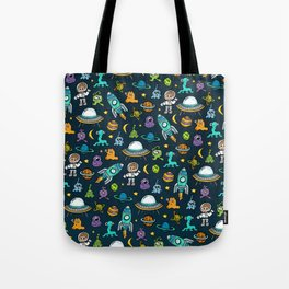Deep Space, Night Sky, Rocket Ship, UFO, Space Alien, Astronaut, Outer Space Tote Bag