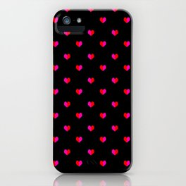 Valentines Day Hearts love gift cute gift for him or her gender neutral pink black red heart pattern iPhone Case